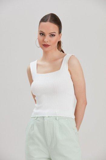 Kadın Beyaz Triko Bluz...
